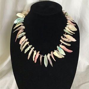 Vintage 80's Pastel Statement Shell Necklace